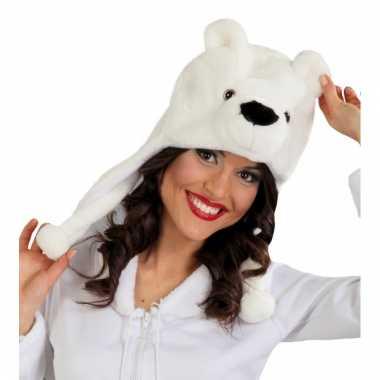 Feestartikelen dierenmuts ijsbeer voor volwassenen