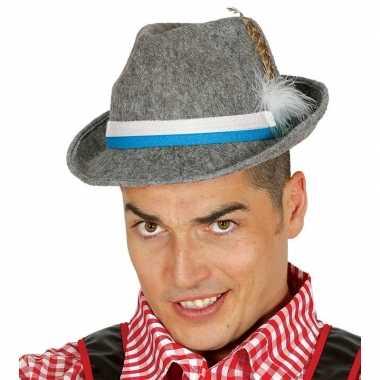 Feestartikelen duitse bierfeest hoed grijs voor volwassenen