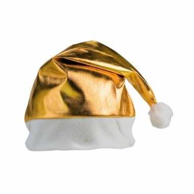 Feestartikelen kerstmuts goud