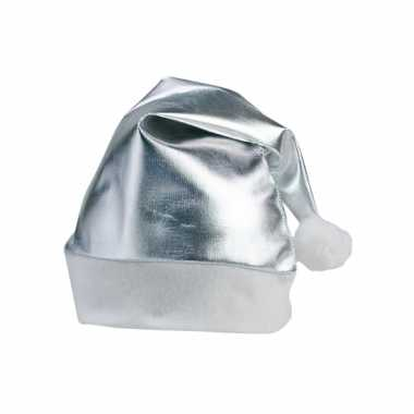 Feestartikelen kerstmuts zilver