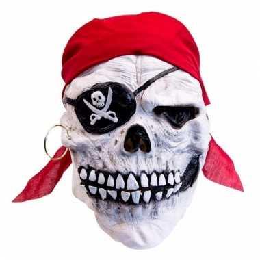 Feestartikelen latex masker doodskop-piraat