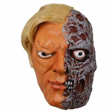 Feestartikelen latex masker half verbrand gezicht