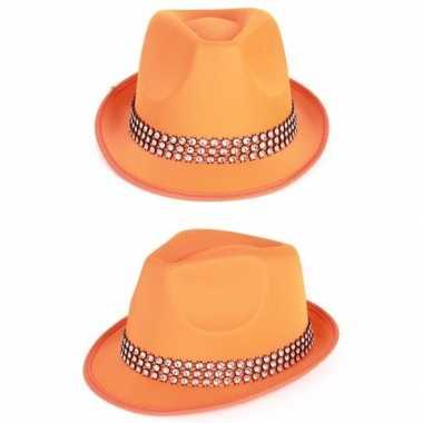 Feestartikelen oranje hoed met zilveren stenen