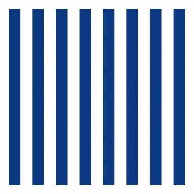 Feestartikelen servetten gestreept marineblauw/wit 3-laags 20 st