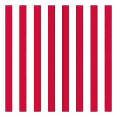 Feestartikelen servetten gestreept rood/wit 3-laags 20 st