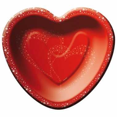 Feestbordjes rode hartjes