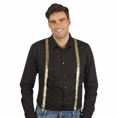 Feestelijke gouden bretels met pailletten