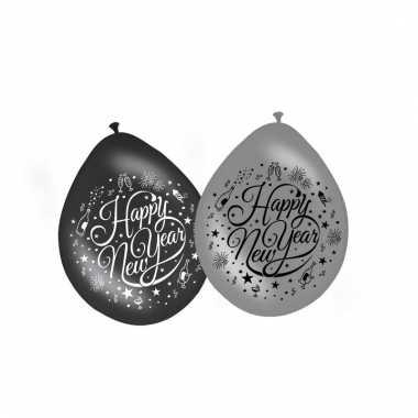 Feestelijke jaarwisseling ballonnen 8 stuks 30 cm