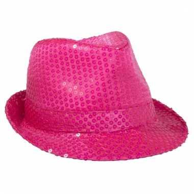 Feesthoed neon roze met pailletten