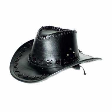 Feesthoeden lederlook cowboyhoed zwart
