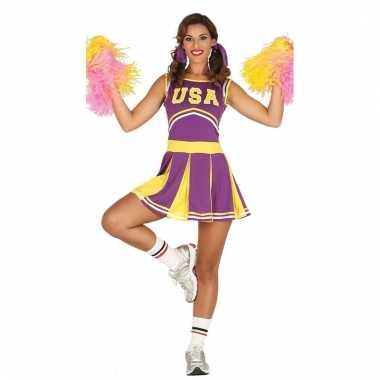 Feestkleding cheerleader paars/geel voor dames