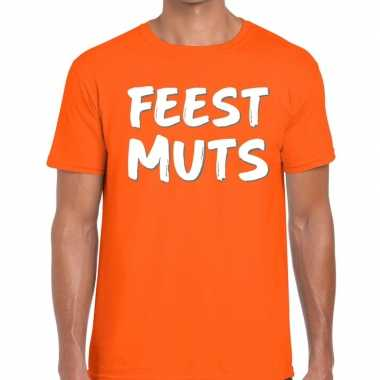 Feestmuts fun t-shirt oranje heren
