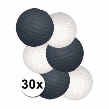 Feestpakket met zwarte en witte lampionnen
