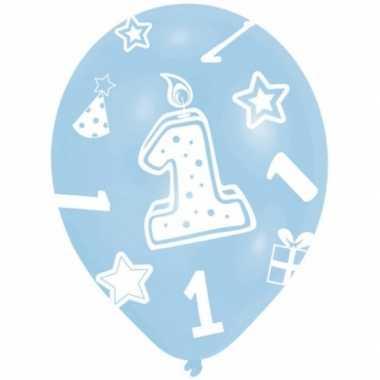 Feestversiering ballonnen blauw 1 jaar 6 stuks