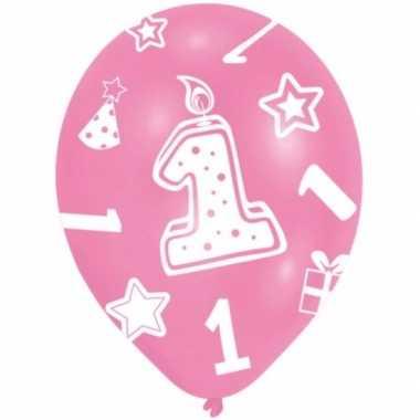 Feestversiering roze ballonnen 1 jaar 6 stuks