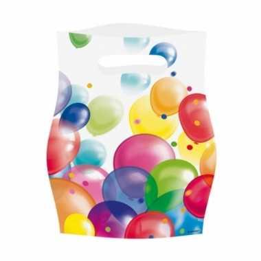 Feestzakjes met ballonnenopdruk plastic 16x23cm 8st