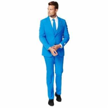 Fel blauw kostuum pak voor heren