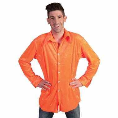 Fel oranje feest overhemd voor heren