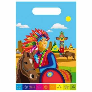 Felgekleurde indianen uitdeelzakjes
