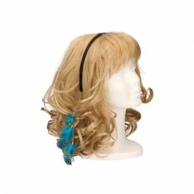 Festival haarband met veren blauw