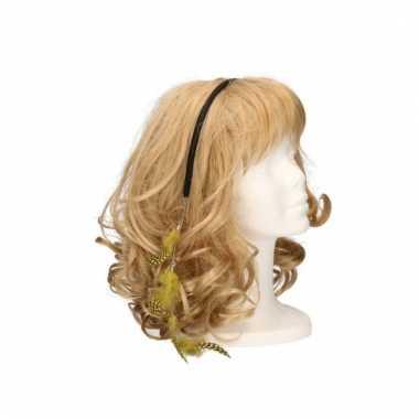 Festival haarband met veren geel