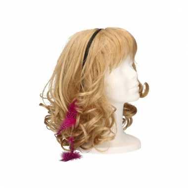 Festival haarband met veren roze