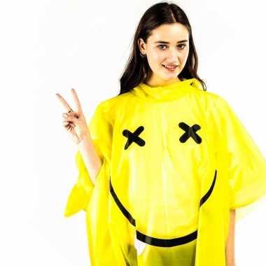 Festival smiley regenponcho geel