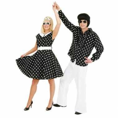 Fifties jurkje met polka dots zwart/wit