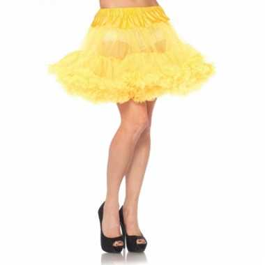 Fifties thema korte petticoat geel voor dames