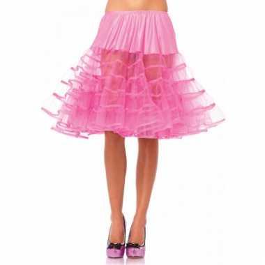 Fifties thema lange petticoat fuchsia voor dames