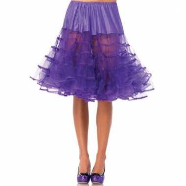 Fifties thema lange petticoat paars voor dames
