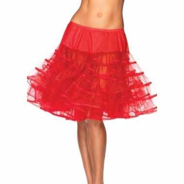 Fifties thema lange petticoat rood voor dames