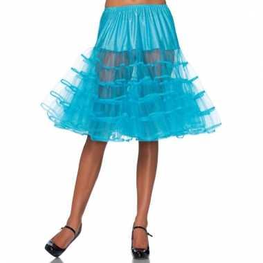 Fifties thema lange petticoat turquoise voor dames