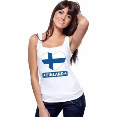 Finland vlag in hartje singlet wit dames