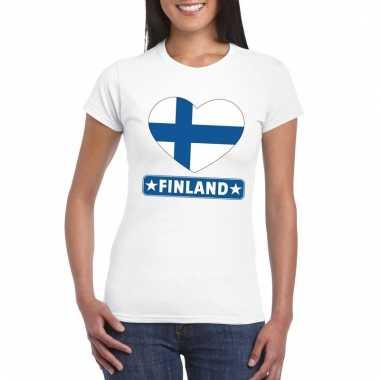 Finse vlag in hartje shirt wit dames