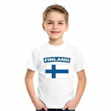 Finse vlag kinder shirt wit