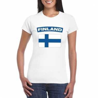 Finse vlag shirt wit dames