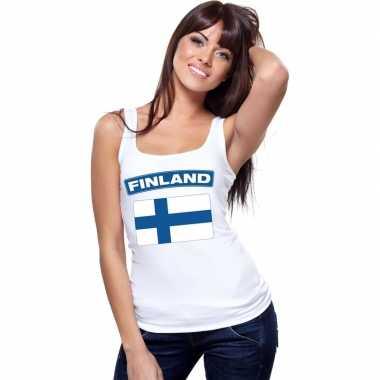 Finse vlag singlet wit dames
