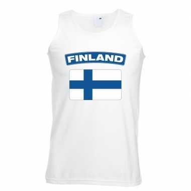 Finse vlag singlet wit heren