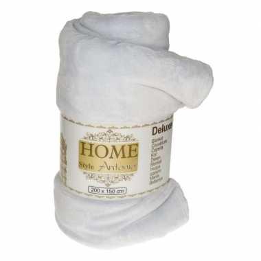 Flanellen deken/plaid mist grijs 150 x 200 cm