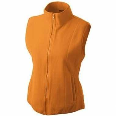 Fleece bodywarmer werkkleding oranje voor dames