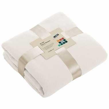 Fleece deken/plaid gebroken wit 130 x 170 cm