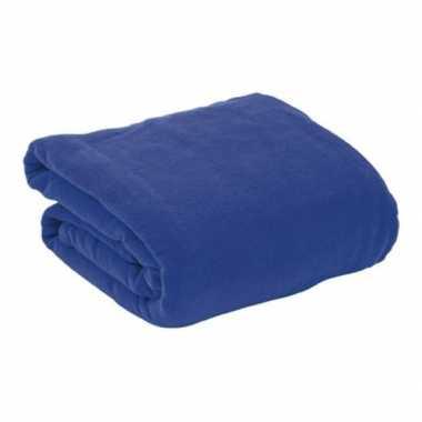 Fleece deken/plaid navy blauw met mouwen 130 x 180 cm