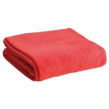 Fleece deken/plaid rood 120 x 150 cm