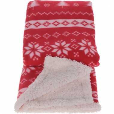 Rode Fleece Deken.Fleece Deken Winterse Print Rood