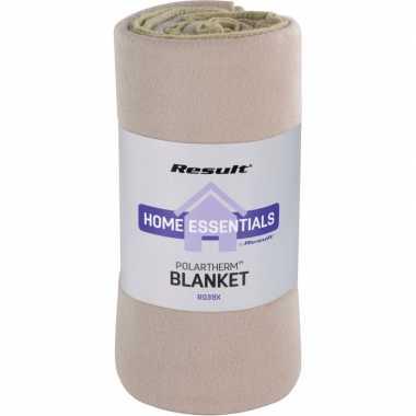 Fleece plaid/deken beige 140 x 175 cm luxe/dikke kwaliteit