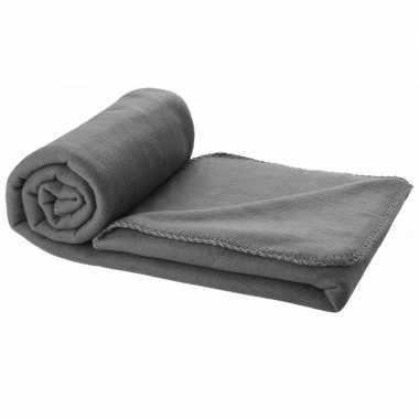 Fleece plaid grijs 150 x 120 cm