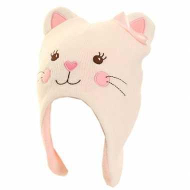 Fleece roze katten/poezen muts voor meisjes