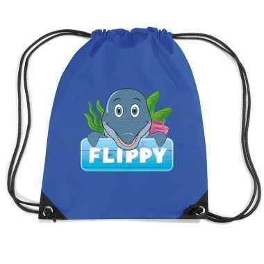 Flippy de dolfijn rugtas / gymtas blauw voor kinderen