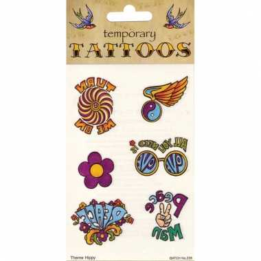 Flower power tattoos 6 stuks